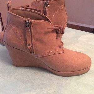 Faux suede zip and lace up booties